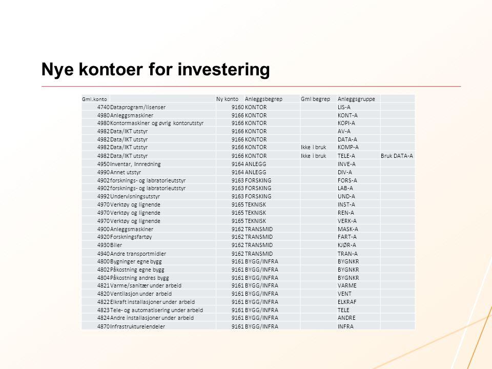 Nye kontoer for investering Gml.konto Ny kontoAnleggsbegrepGml begrepAnleggsgruppe 4740Dataprogram/lisenser9160KONTOR LIS-A 4980Anleggsmaskiner9166KON