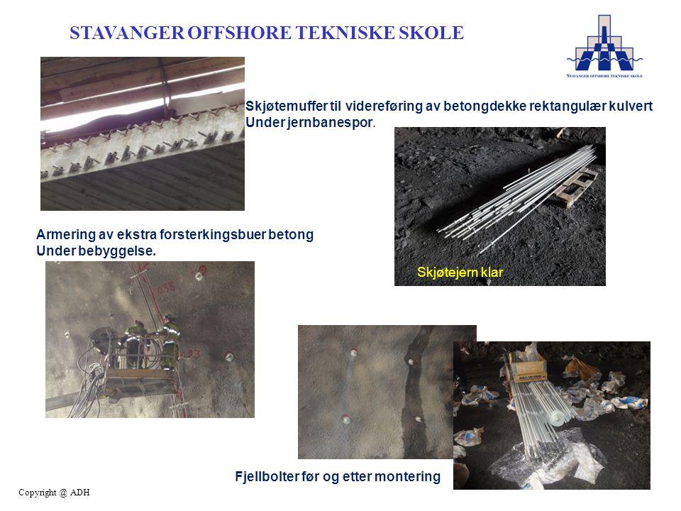 STAVANGER OFFSHORE TEKNISKE SKOLE Copyright @ ADH Skjøtemuffer til videreføring av betongdekke rektangulær kulvert Under jernbanespor.