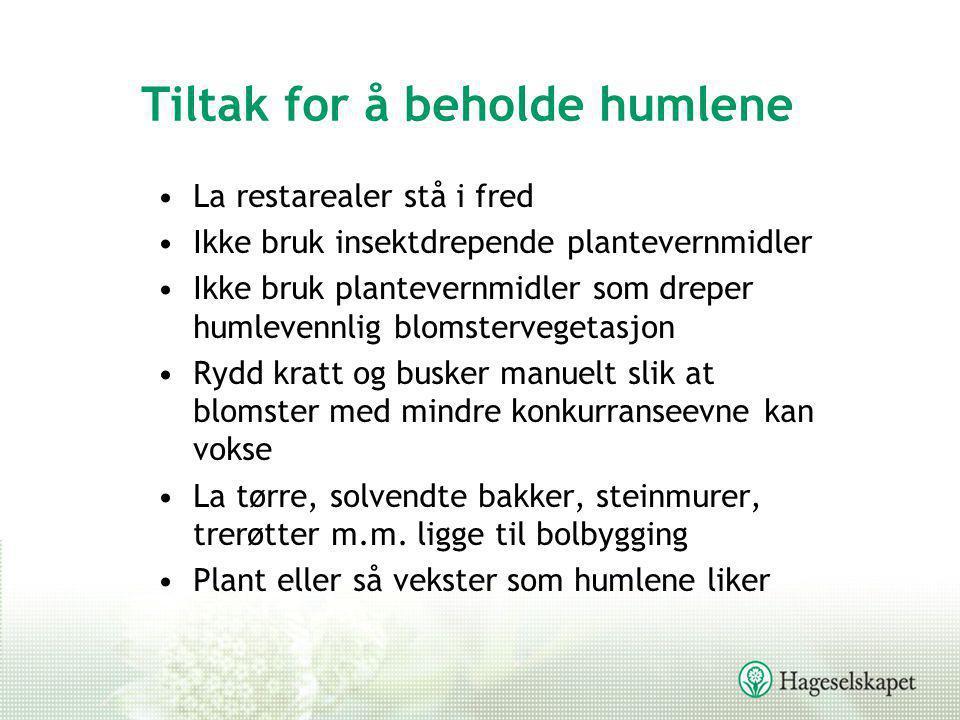 Tiltak for å beholde humlene •La restarealer stå i fred •Ikke bruk insektdrepende plantevernmidler •Ikke bruk plantevernmidler som dreper humlevennlig