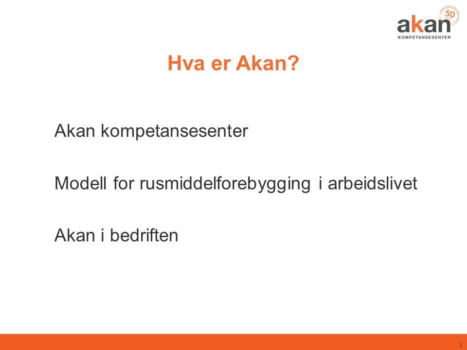 3 Hva er Akan? Akan kompetansesenter Modell for rusmiddelforebygging i arbeidslivet Akan i bedriften