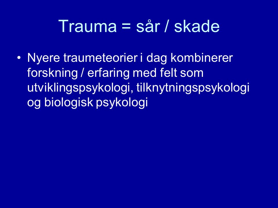 •Normalreaksjoner/psykiske reaksjoner etter traumer •Forståelse av traumer •Hvordan best hjelpe den overgrepsutsatte: symptomreduksjon og stabilisering •Når henvise til behandling?