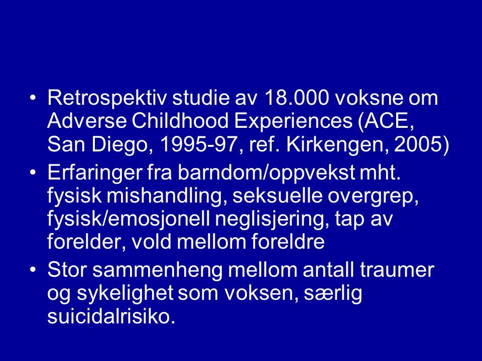 Vanlige psykiske reaksjoner etter traumatiske hendelser •Angst •Depresjon •Rusvansker •Selvskading/suicidaltanker •Spiseforstyrrelser •Psykose •Posttraumatiske plager (PTSD) •Dissosiative lidelser (kompleks traumatisering)