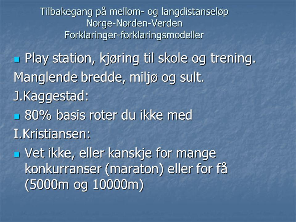 Tilbakegang på mellom- og langdistanseløp Norge-Norden-Verden Forklaringer-forklaringsmodeller  Play station, kjøring til skole og trening. Manglende