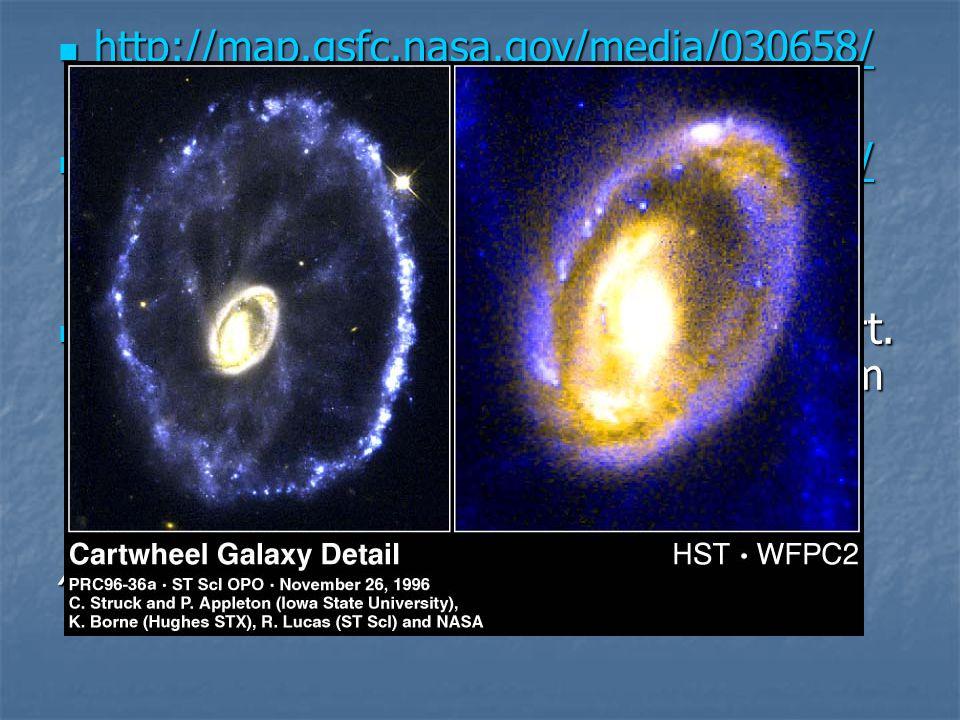  http://map.gsfc.nasa.gov/media/030658/ http://map.gsfc.nasa.gov/media/030658/  http://map.gsfc.nasa.gov/media/030640/ http://map.gsfc.nasa.gov/media/030640/  Et eksempel på galakser som har kollidert.