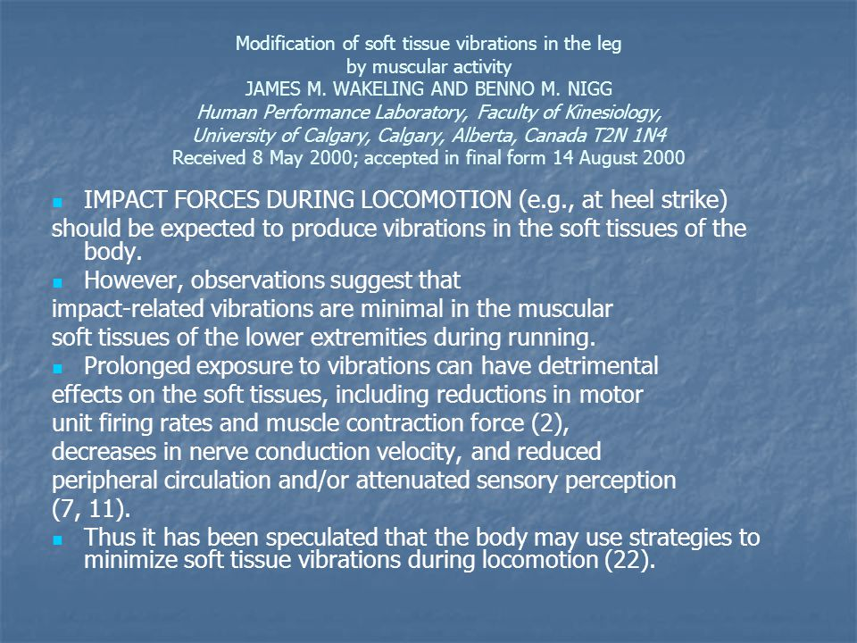 Modification of soft tissue vibrations in the leg by muscular activity JAMES M.