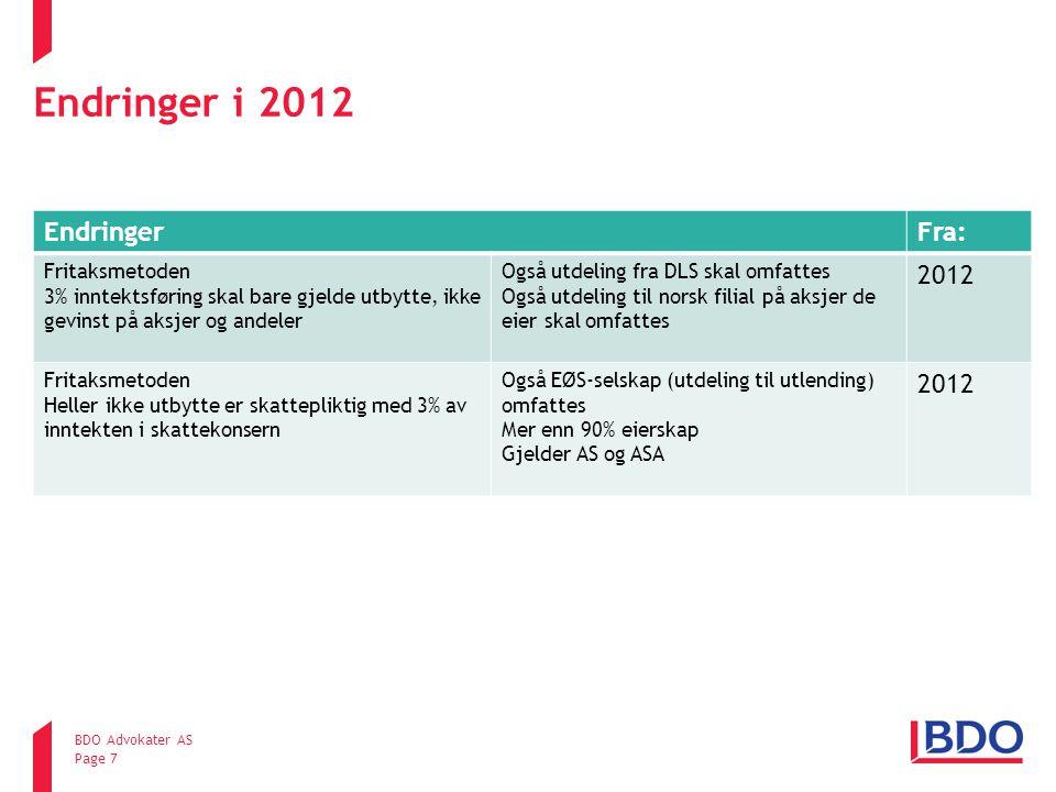 Endringer i 2012 EndringerFra: Fritaksmetoden 3% inntektsføring skal bare gjelde utbytte, ikke gevinst på aksjer og andeler Også utdeling fra DLS skal