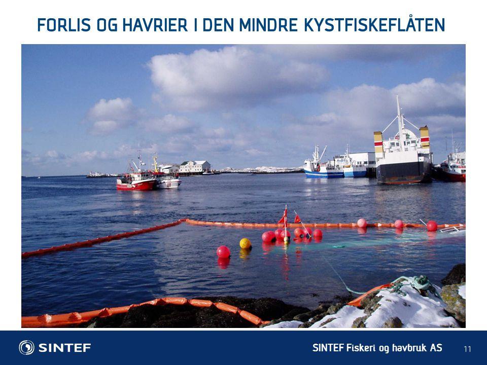 SINTEF Fiskeri og havbruk AS 11 FORLIS OG HAVRIER I DEN MINDRE KYSTFISKEFLÅTEN