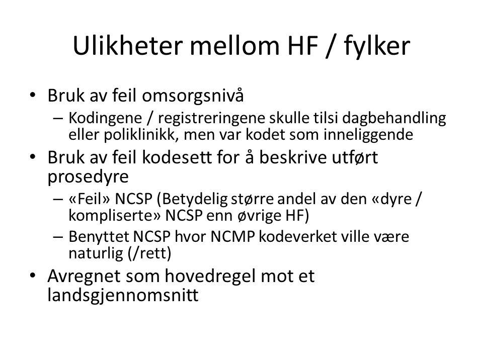 Ulikheter mellom HF / fylker • Bruk av feil omsorgsnivå – Kodingene / registreringene skulle tilsi dagbehandling eller poliklinikk, men var kodet som