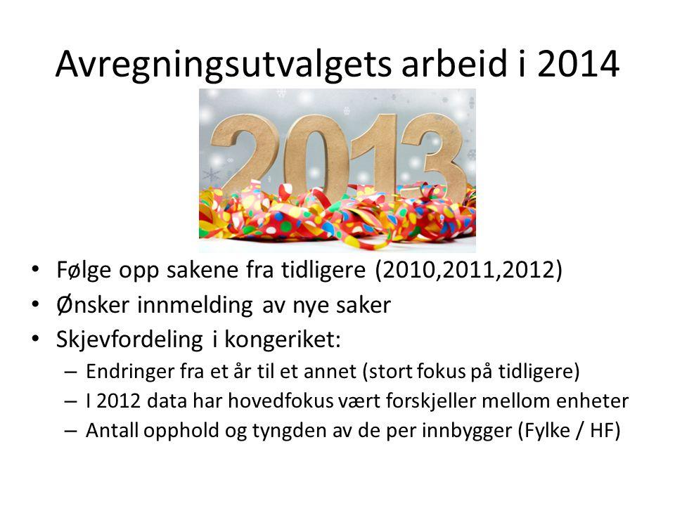 Avregningsutvalgets arbeid i 2014 • Følge opp sakene fra tidligere (2010,2011,2012) • Ønsker innmelding av nye saker • Skjevfordeling i kongeriket: –