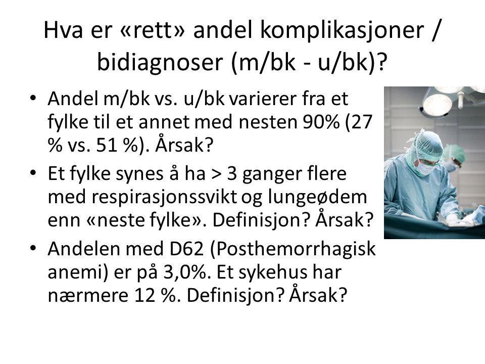 Hva er «rett» andel komplikasjoner / bidiagnoser (m/bk - u/bk)? • Andel m/bk vs. u/bk varierer fra et fylke til et annet med nesten 90% (27 % vs. 51 %