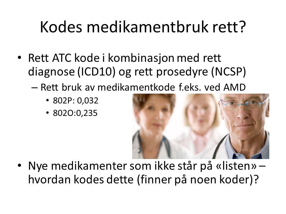 Kodes medikamentbruk rett? • Rett ATC kode i kombinasjon med rett diagnose (ICD10) og rett prosedyre (NCSP) – Rett bruk av medikamentkode f.eks. ved A