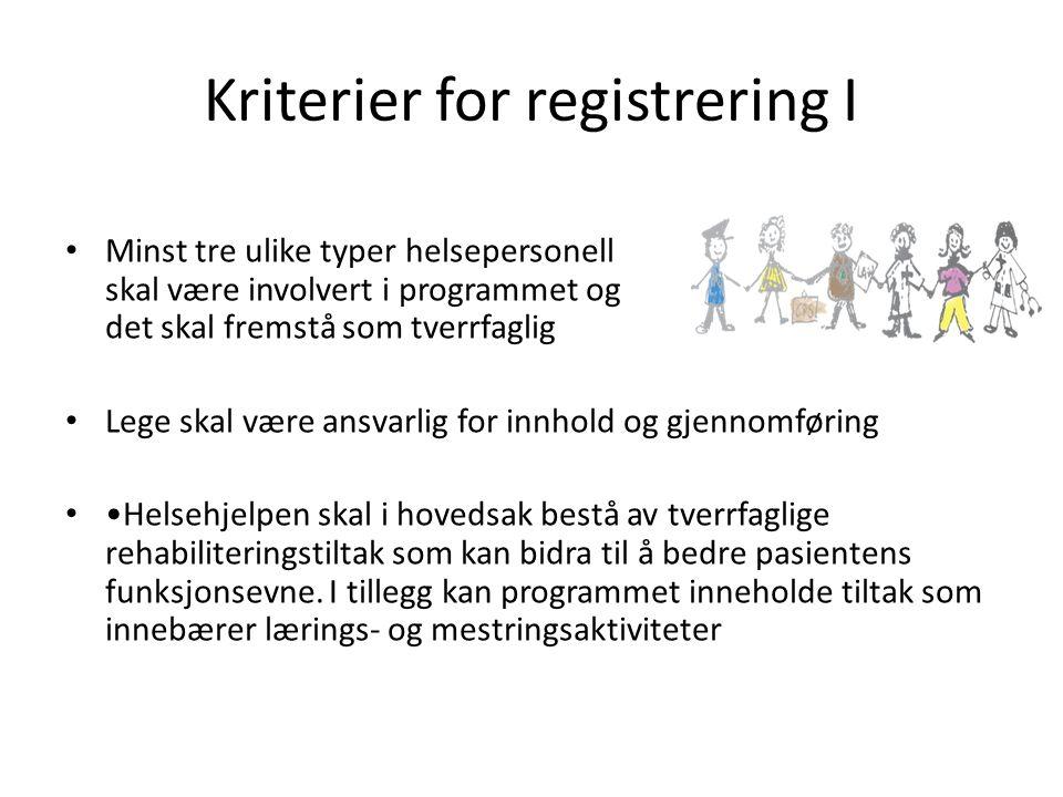 Kriterier for registrering I • Minst tre ulike typer helsepersonell skal være involvert i programmet og det skal fremstå som tverrfaglig • Lege skal v