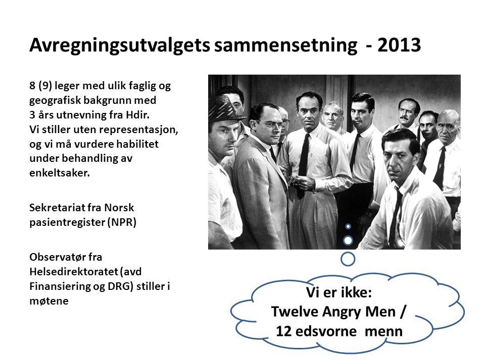 Avregningsutvalgets sammensetning - 2013 8 (9) leger med ulik faglig og geografisk bakgrunn med 3 års utnevning fra Hdir. Vi stiller uten representasj