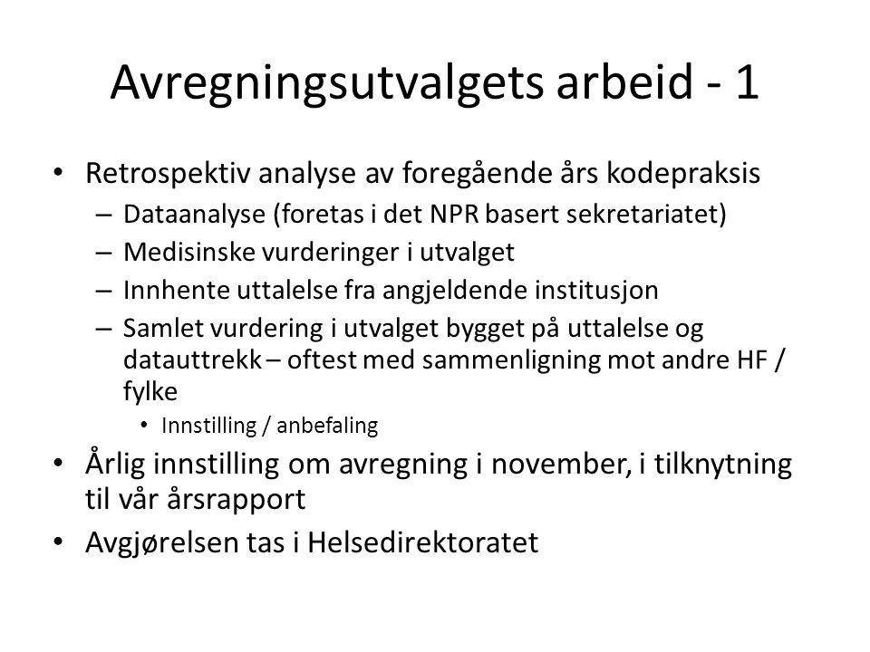 Avregningsutvalgets arbeid - 1 • Retrospektiv analyse av foregående års kodepraksis – Dataanalyse (foretas i det NPR basert sekretariatet) – Medisinsk