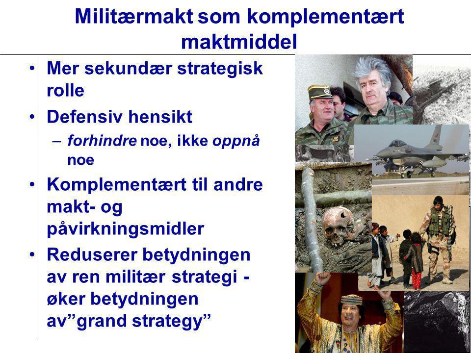Militærmakt som komplementært maktmiddel •Mer sekundær strategisk rolle •Defensiv hensikt –forhindre noe, ikke oppnå noe •Komplementært til andre makt- og påvirkningsmidler •Reduserer betydningen av ren militær strategi - øker betydningen av grand strategy