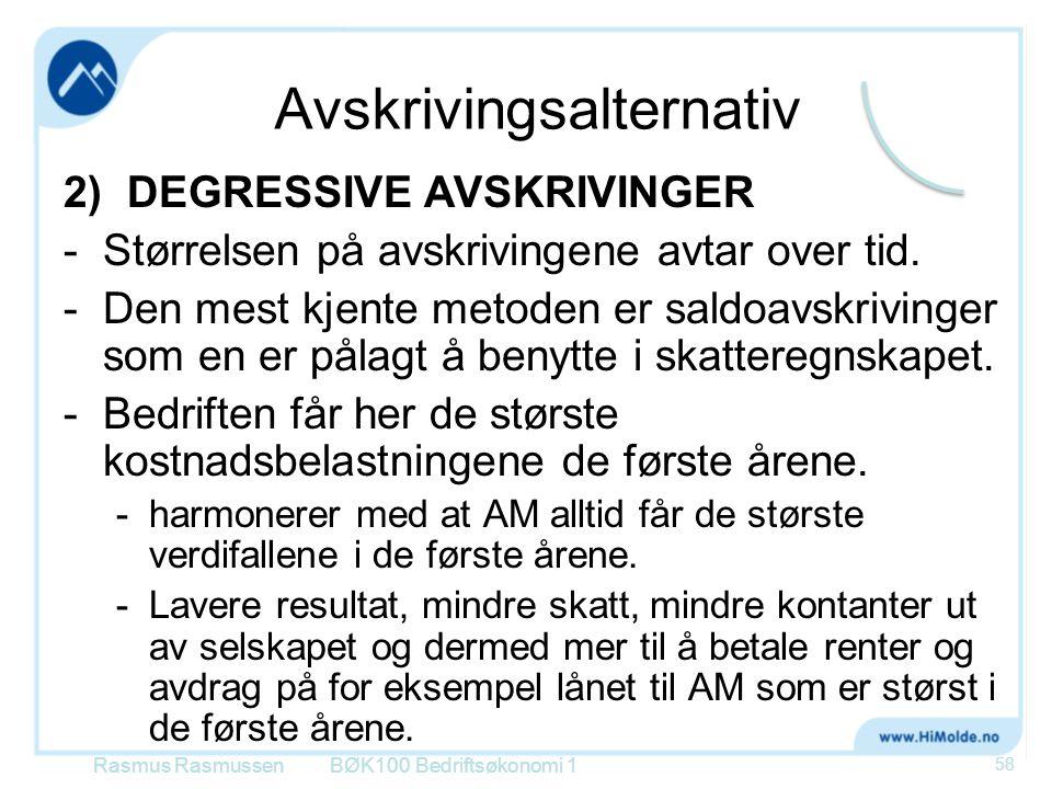 Avskrivingsalternativ 2) DEGRESSIVE AVSKRIVINGER -Størrelsen på avskrivingene avtar over tid. -Den mest kjente metoden er saldoavskrivinger som en er
