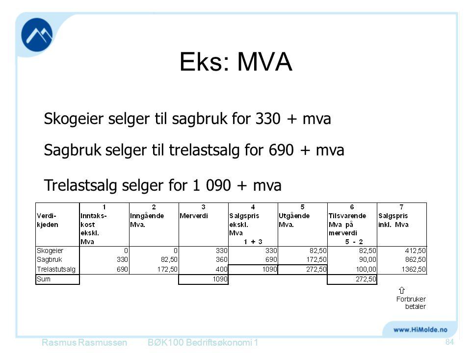 Eks: MVA BØK100 Bedriftsøkonomi 1 84 Skogeier selger til sagbruk for 330 + mva Sagbruk selger til trelastsalg for 690 + mva Trelastsalg selger for 1 0
