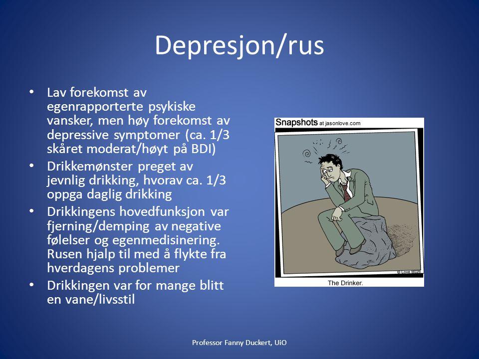 Depresjon/rus • Lav forekomst av egenrapporterte psykiske vansker, men høy forekomst av depressive symptomer (ca.