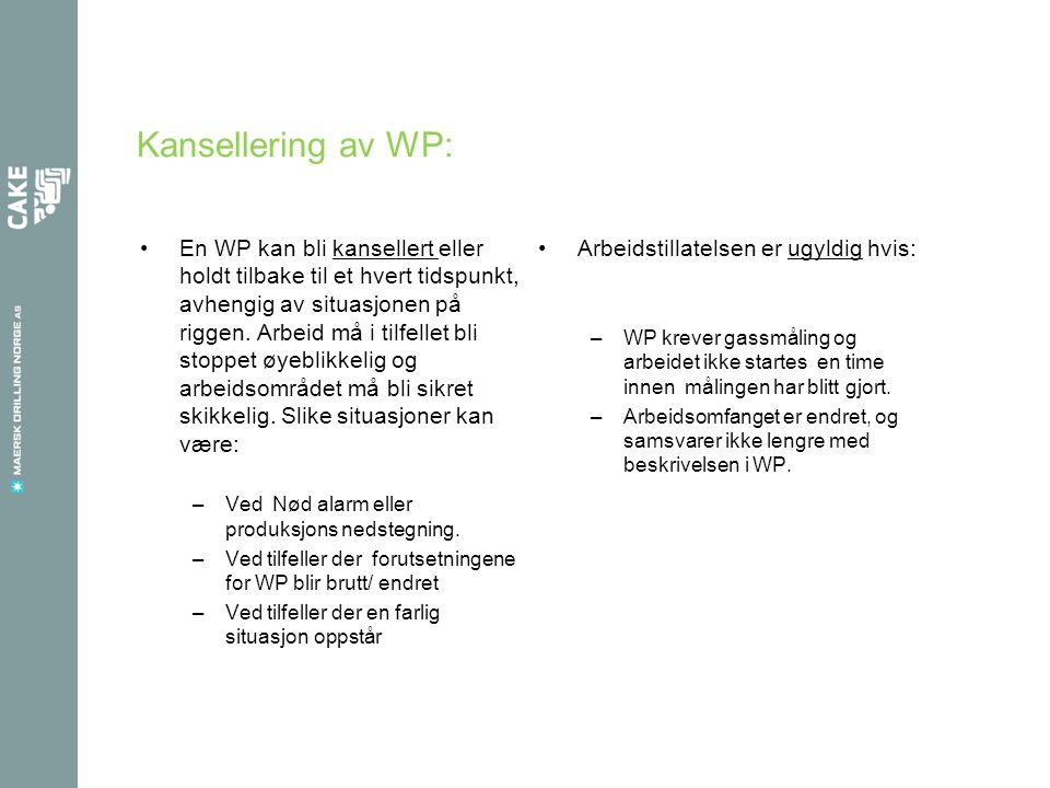 Kansellering av WP: •En WP kan bli kansellert eller holdt tilbake til et hvert tidspunkt, avhengig av situasjonen på riggen. Arbeid må i tilfellet bli