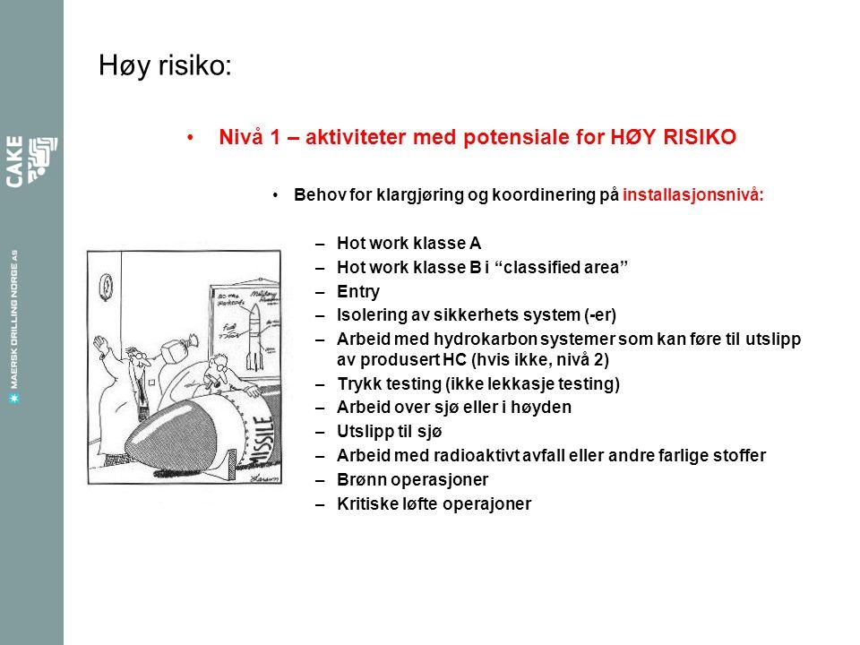 Høy risiko: •Nivå 1 – aktiviteter med potensiale for HØY RISIKO •Behov for klargjøring og koordinering på installasjonsnivå: –Hot work klasse A –Hot w