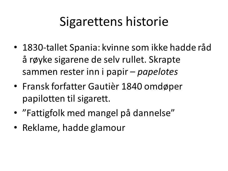 Sigarettens historie • 1830-tallet Spania: kvinne som ikke hadde råd å røyke sigarene de selv rullet. Skrapte sammen rester inn i papir – papelotes •