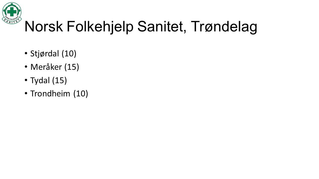 Norsk Folkehjelp Sanitet, Trøndelag • Stjørdal (10) • Meråker (15) • Tydal (15) • Trondheim (10)
