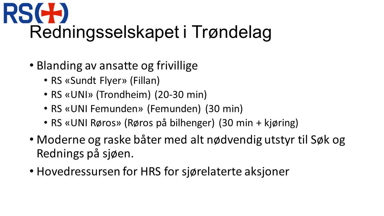Redningsselskapet i Trøndelag • Blanding av ansatte og frivillige • RS «Sundt Flyer» (Fillan) • RS «UNI» (Trondheim) (20-30 min) • RS «UNI Femunden» (