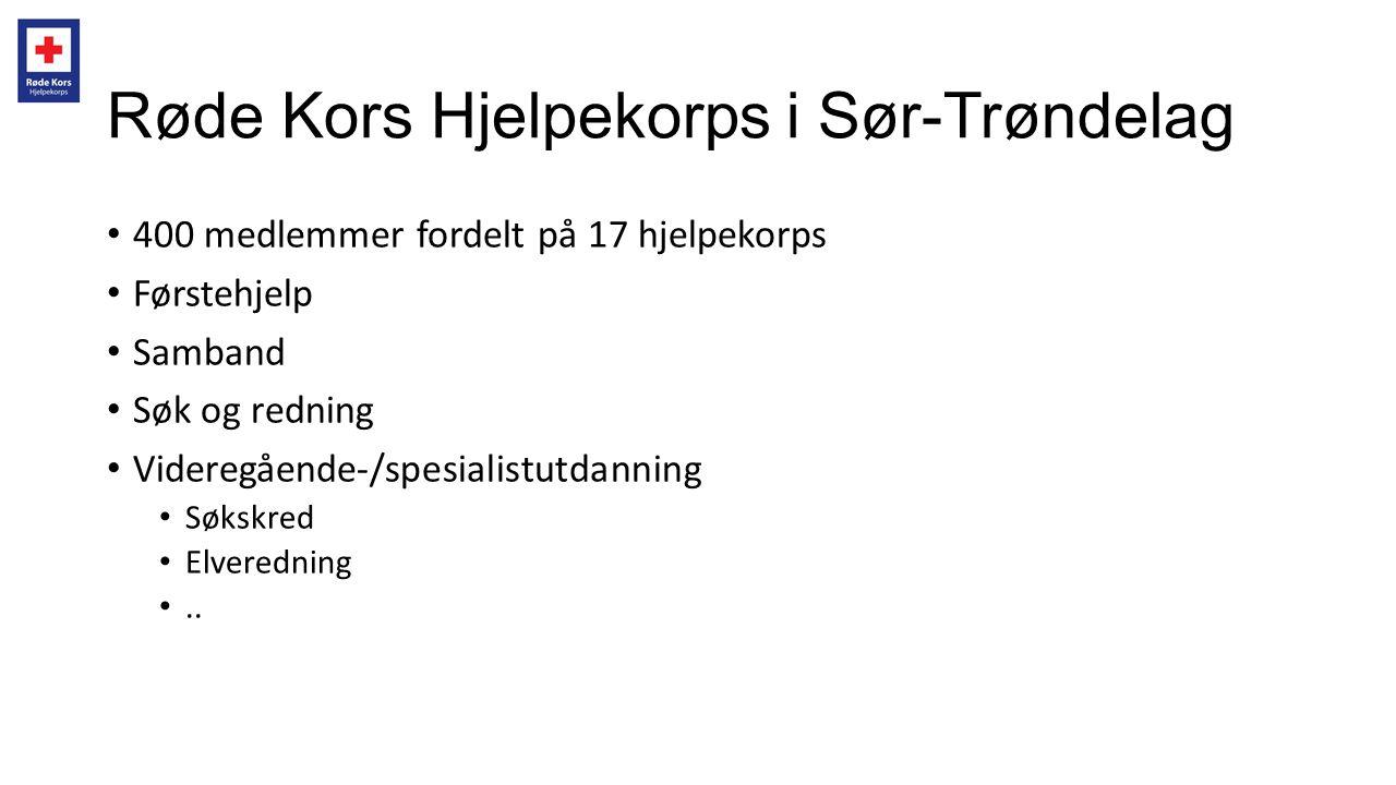 Røde Kors Hjelpekorps i Sør-Trøndelag • 400 medlemmer fordelt på 17 hjelpekorps • Førstehjelp • Samband • Søk og redning • Videregående-/spesialistutd