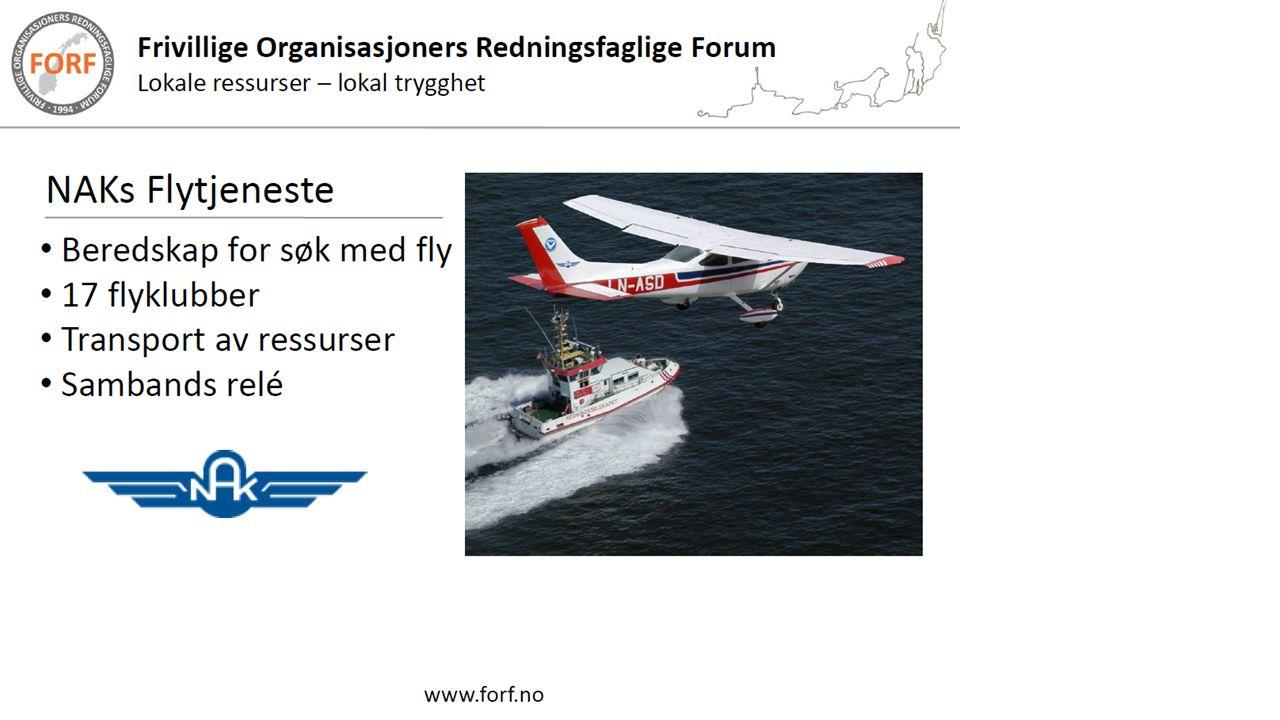 NAKs Flytjeneste Flytjenesten utfører i dag følgende typer oppdrag: • Skogbrannvakttjeneste etter avtale med fylker/kommuner/skogeiere.
