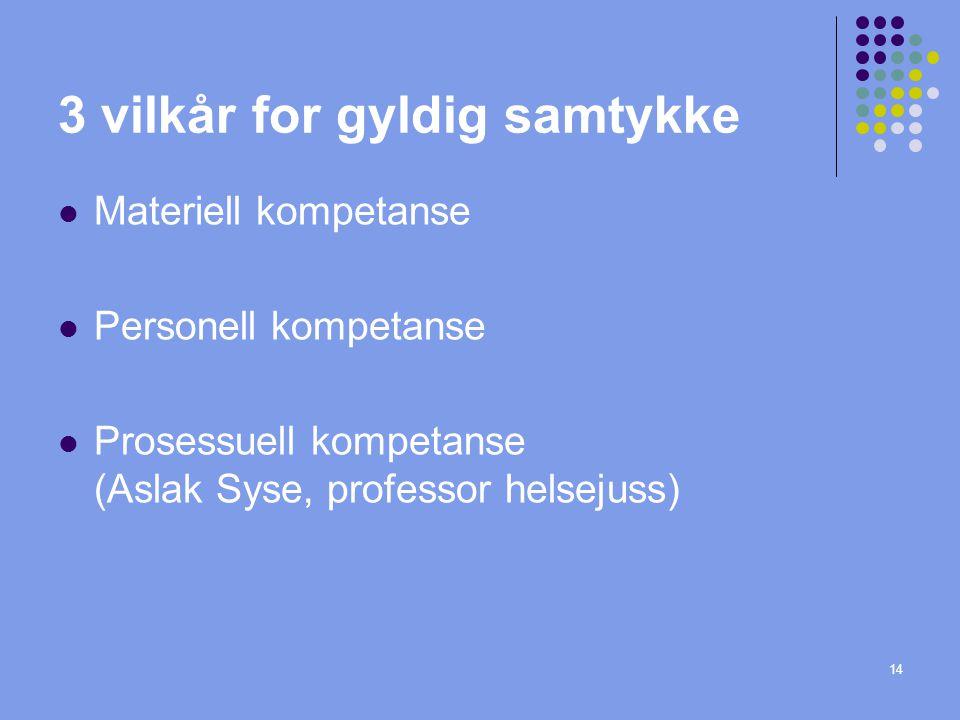 14 3 vilkår for gyldig samtykke  Materiell kompetanse  Personell kompetanse  Prosessuell kompetanse (Aslak Syse, professor helsejuss)