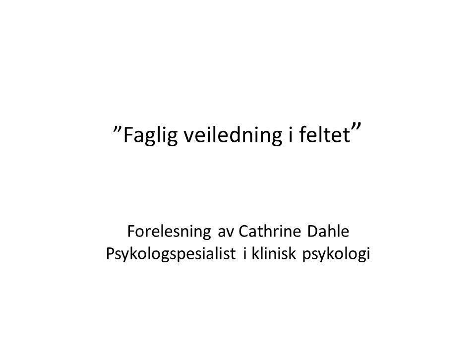 Faglig veiledning i feltet Forelesning av Cathrine Dahle Psykologspesialist i klinisk psykologi