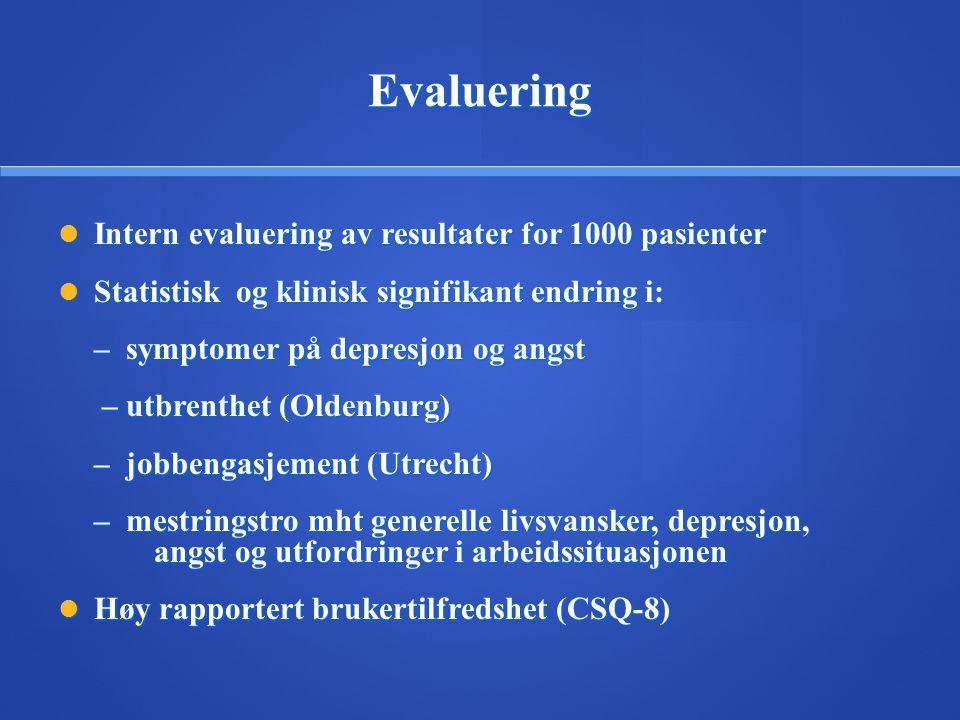 Evaluering  Intern evaluering av resultater for 1000 pasienter  Statistisk og klinisk signifikant endring i: – symptomer på depresjon og angst – utb