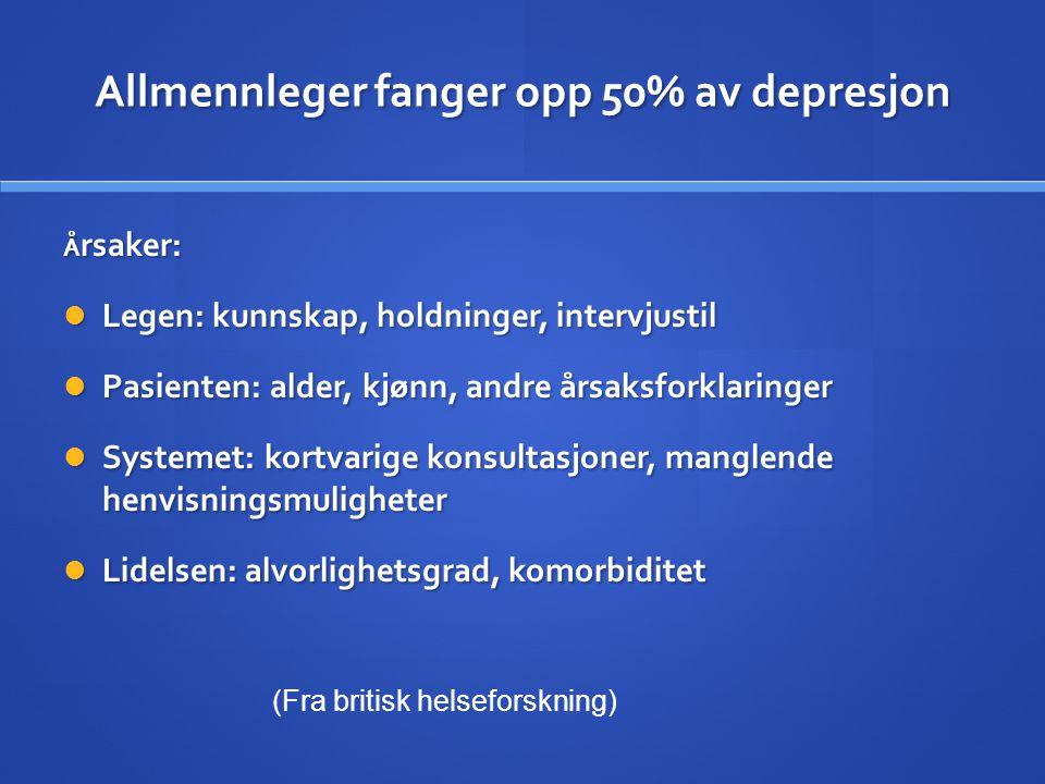 Allmennleger fanger opp 50% av depresjon Å rsaker:  Legen: kunnskap, holdninger, intervjustil  Pasienten: alder, kjønn, andre årsaksforklaringer  S