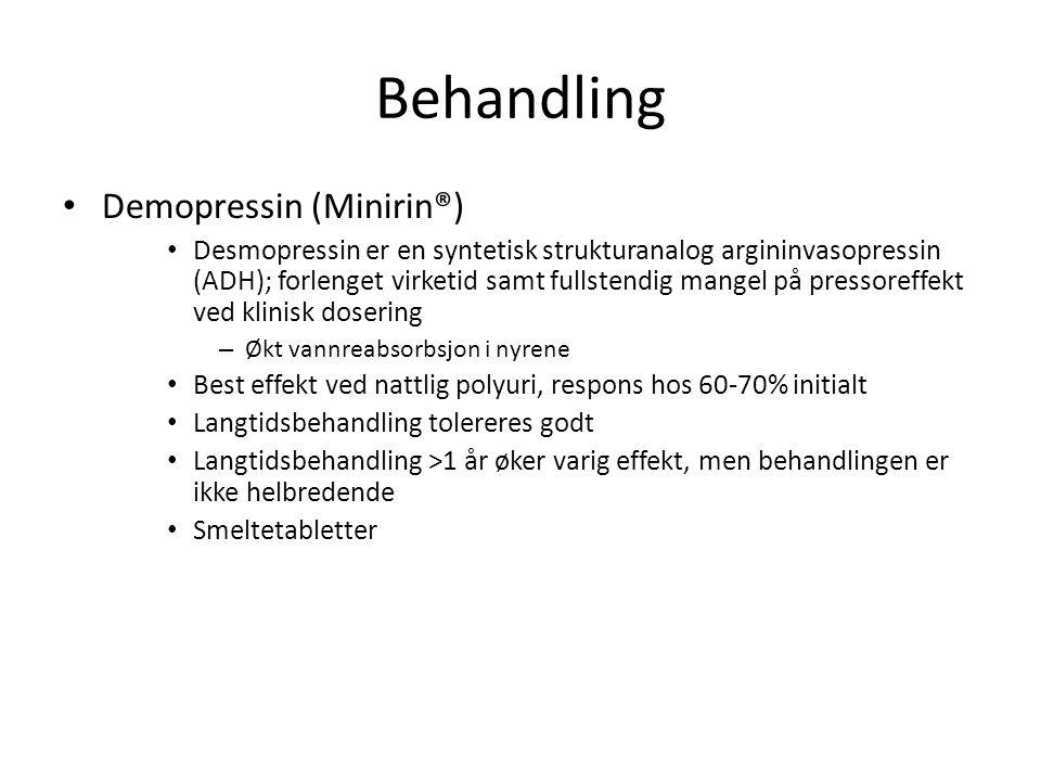 Behandling • Demopressin (Minirin®) • Desmopressin er en syntetisk strukturanalog argininvasopressin (ADH); forlenget virketid samt fullstendig mangel