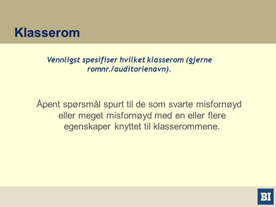 Klasserom Vennligst spesifiser hvilket klasserom (gjerne romnr./auditorienavn).