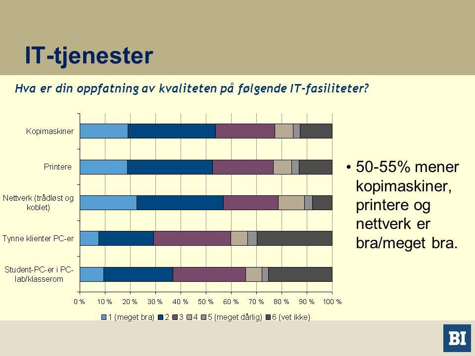 IT-tjenester • 50-55% mener kopimaskiner, printere og nettverk er bra/meget bra.