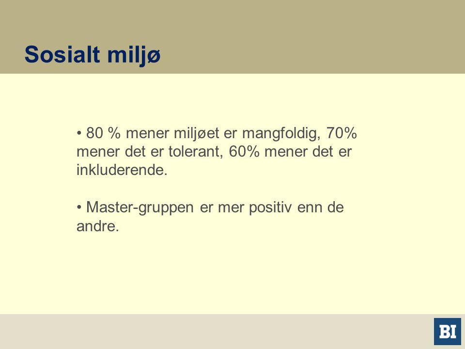 Sosialt miljø • 80 % mener miljøet er mangfoldig, 70% mener det er tolerant, 60% mener det er inkluderende.