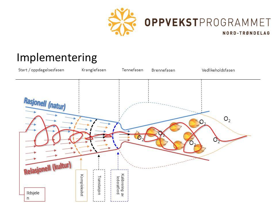 Tennefasen Implementering Kompleksitet Kalibrering av lederatferd Translasjon Ildsjele n Start / oppdagelsesfasenKranglefasen BrennefasenVedlikeholdsf