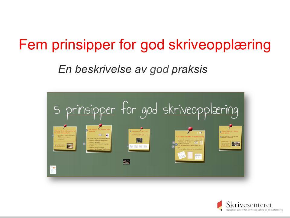 Fem prinsipper for god skriveopplæring En beskrivelse av god praksis