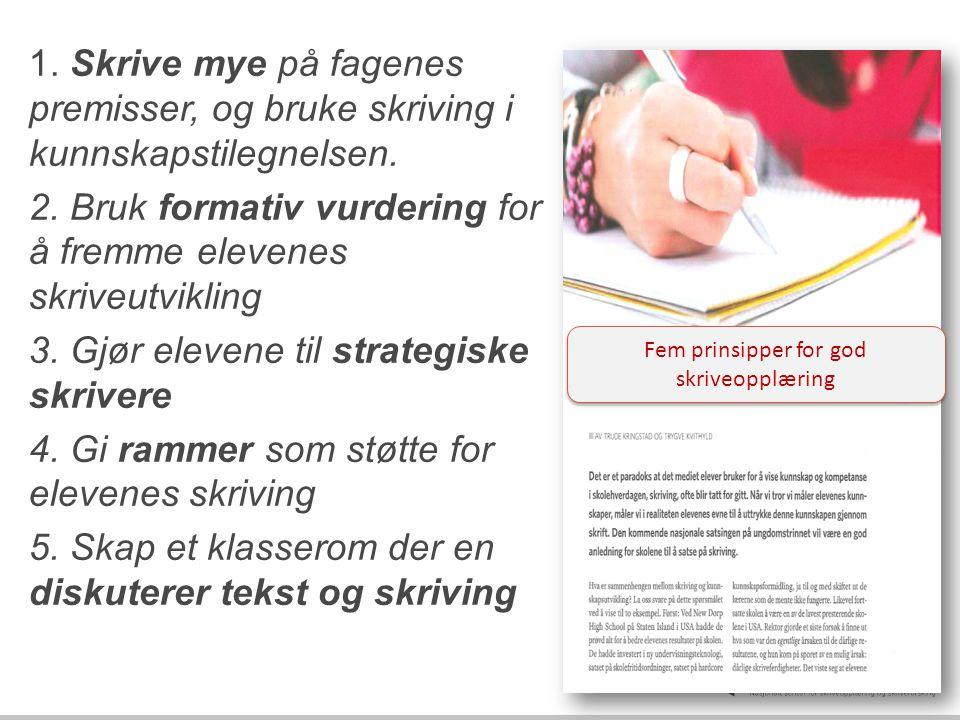 1. Skrive mye på fagenes premisser, og bruke skriving i kunnskapstilegnelsen. 2. Bruk formativ vurdering for å fremme elevenes skriveutvikling 3. Gjør