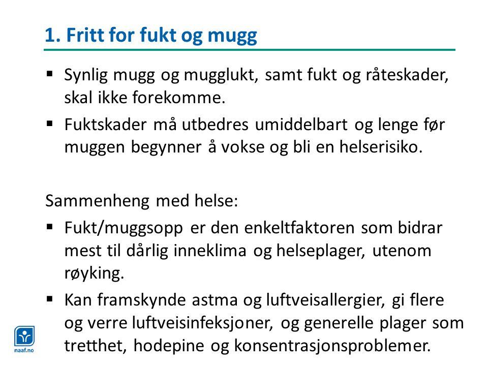 1. Fritt for fukt og mugg  Synlig mugg og mugglukt, samt fukt og råteskader, skal ikke forekomme.  Fuktskader må utbedres umiddelbart og lenge før m