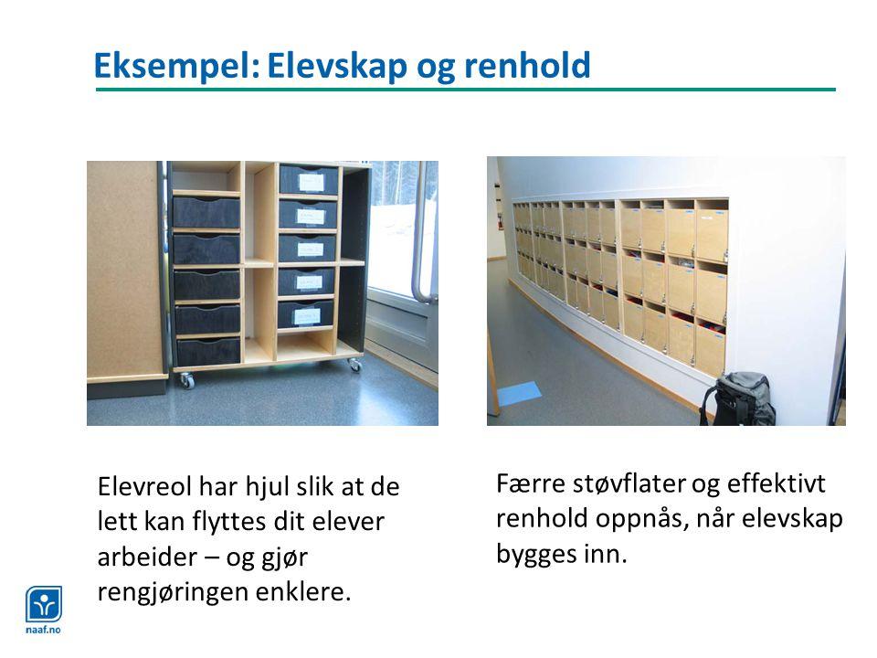Eksempel: Elevskap og renhold Elevreol har hjul slik at de lett kan flyttes dit elever arbeider – og gjør rengjøringen enklere. Færre støvflater og ef