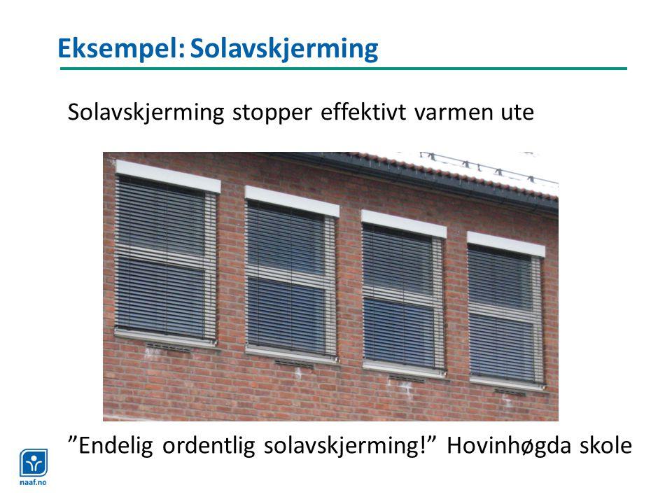 """Eksempel: Solavskjerming """"Endelig ordentlig solavskjerming!"""" Hovinhøgda skole Solavskjerming stopper effektivt varmen ute"""