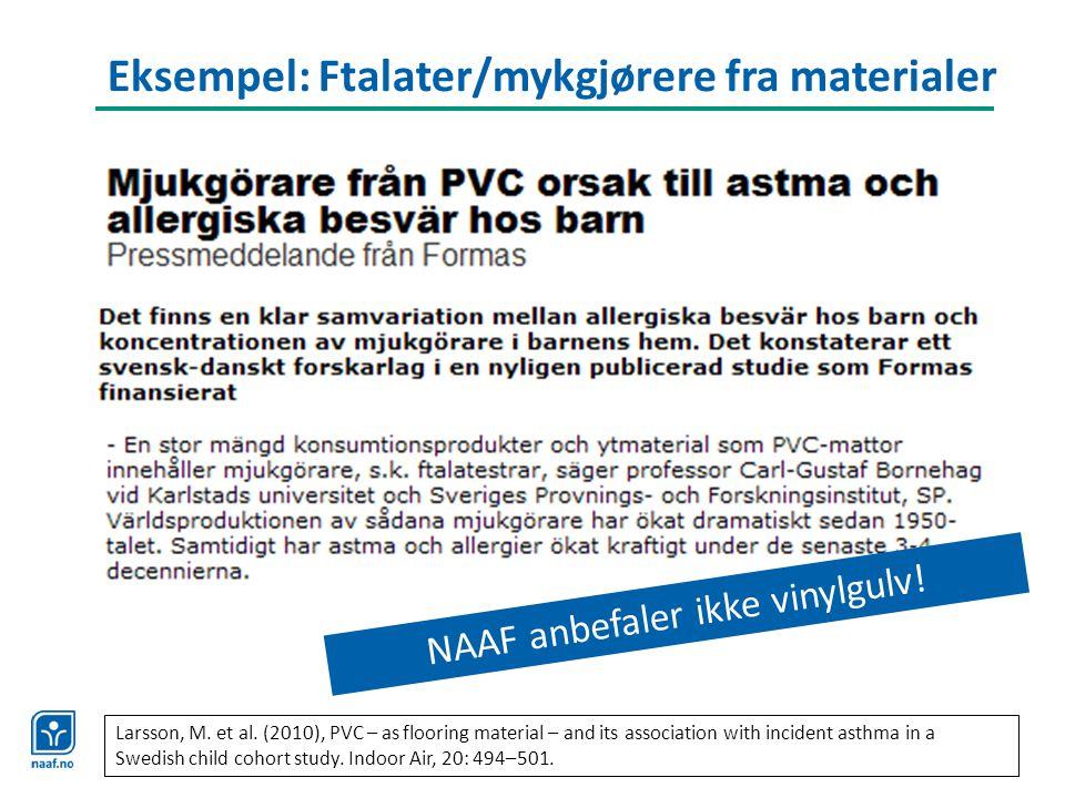 Eksempel: Ftalater/mykgjørere fra materialer NAAF anbefaler ikke vinylgulv! Larsson, M. et al. (2010), PVC – as flooring material – and its associatio