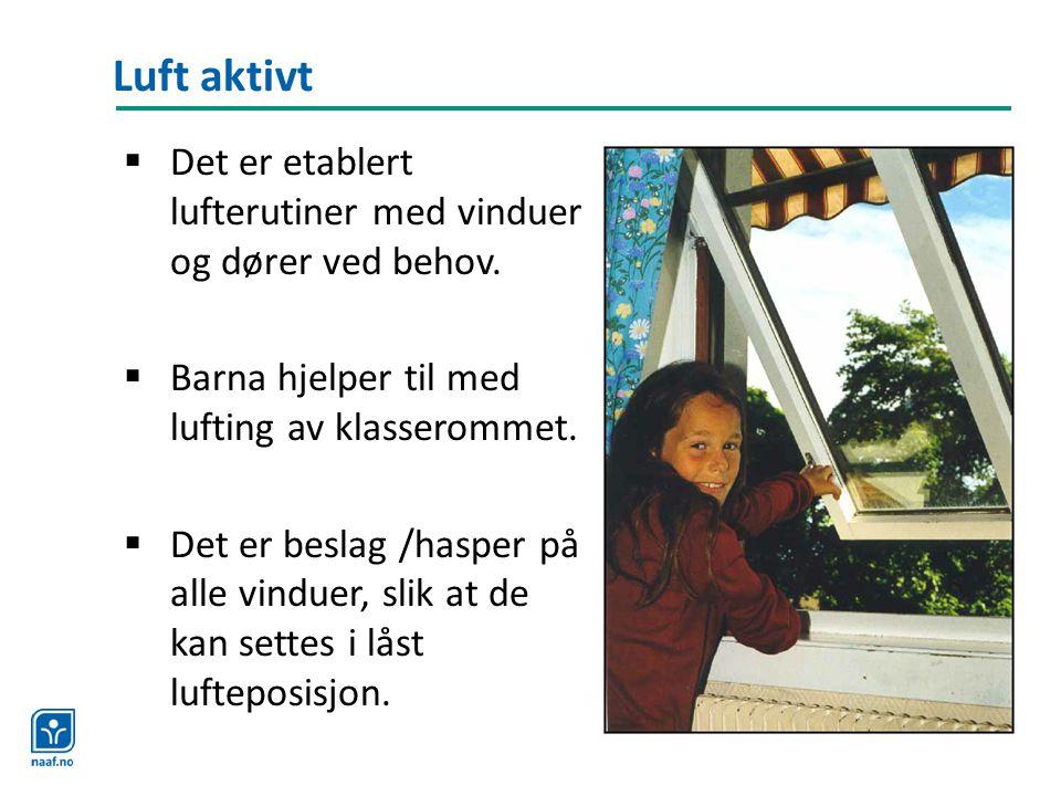 Luft aktivt  Det er etablert lufterutiner med vinduer og dører ved behov.  Barna hjelper til med lufting av klasserommet.  Det er beslag /hasper på