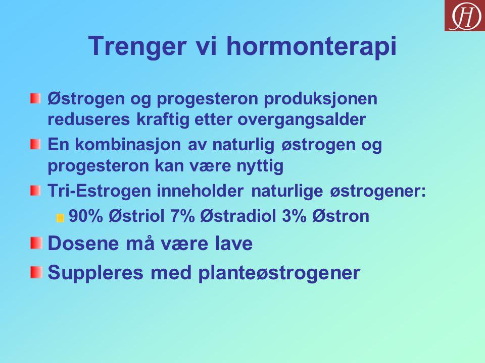 Trenger vi hormonterapi Østrogen og progesteron produksjonen reduseres kraftig etter overgangsalder En kombinasjon av naturlig østrogen og progesteron
