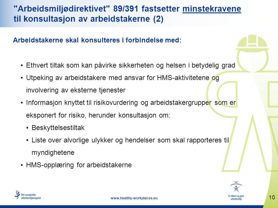 10 www.healthy-workplaces.eu