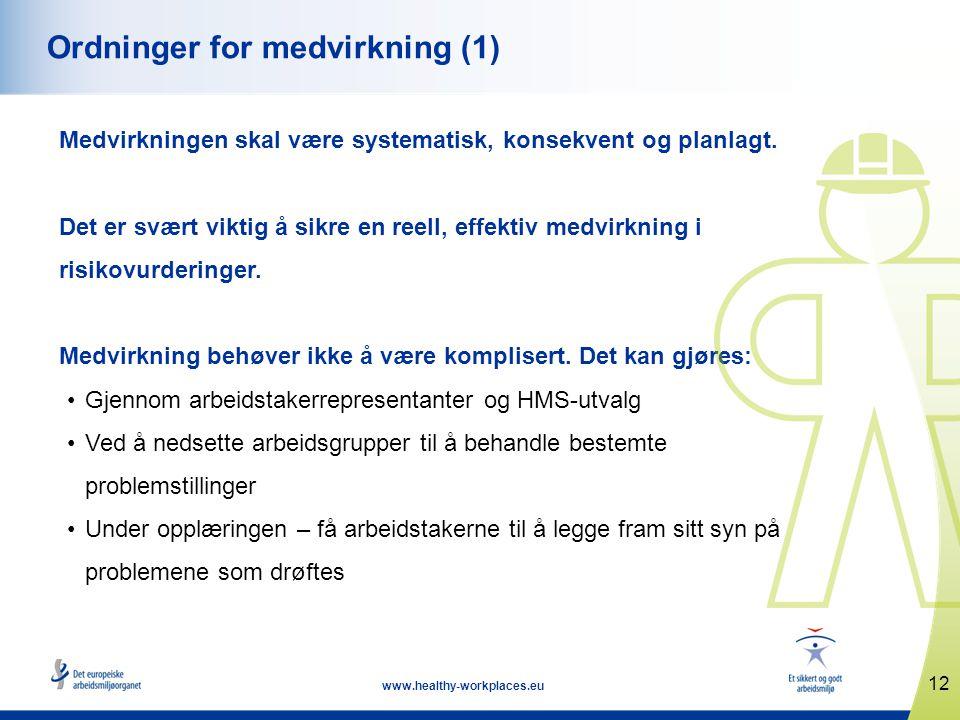 12 www.healthy-workplaces.eu Ordninger for medvirkning (1) Medvirkningen skal være systematisk, konsekvent og planlagt. Det er svært viktig å sikre en
