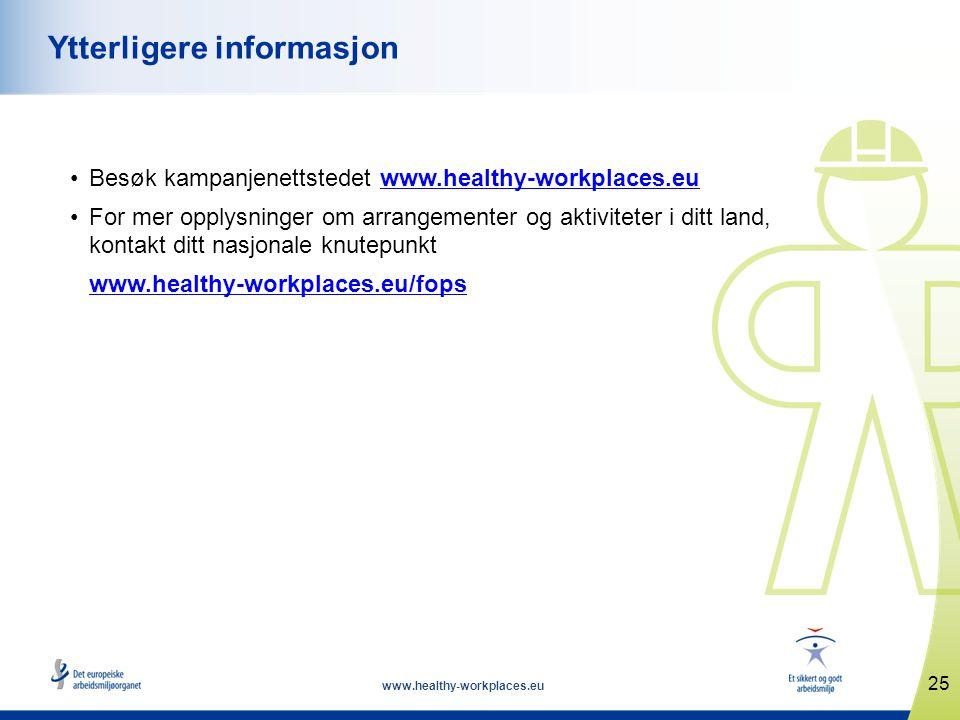 www.healthy-workplaces.eu •Besøk kampanjenettstedet www.healthy-workplaces.euwww.healthy-workplaces.eu •For mer opplysninger om arrangementer og aktiv