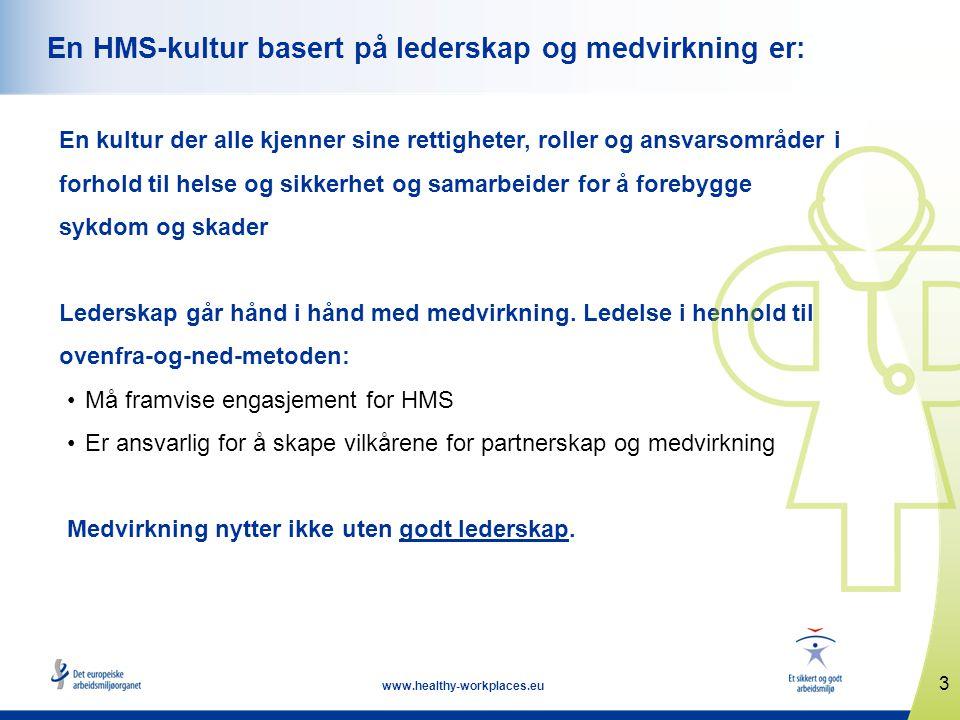 3 www.healthy-workplaces.eu En HMS-kultur basert på lederskap og medvirkning er: En kultur der alle kjenner sine rettigheter, roller og ansvarsområder